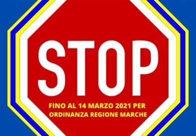 Stop a tutte le attività fino al 14 Marzo 2021